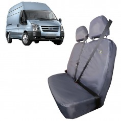 Transit & Tourneo Front LH Passenger Double Seat Heavy Duty Seat Cover Black with Floor Mounted Seat from 2006 to 2013