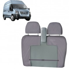 Transit Front LH Passenger Double Seat Heavy Duty Seat Cover Grey with Bulkhead Mounted Seat from 2006 to 2013