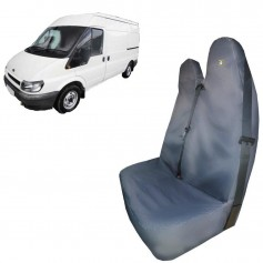 Transit & Tourneo Front LH Passenger Double Seat Heavy Duty Seat Cover Black 2000 to 2004